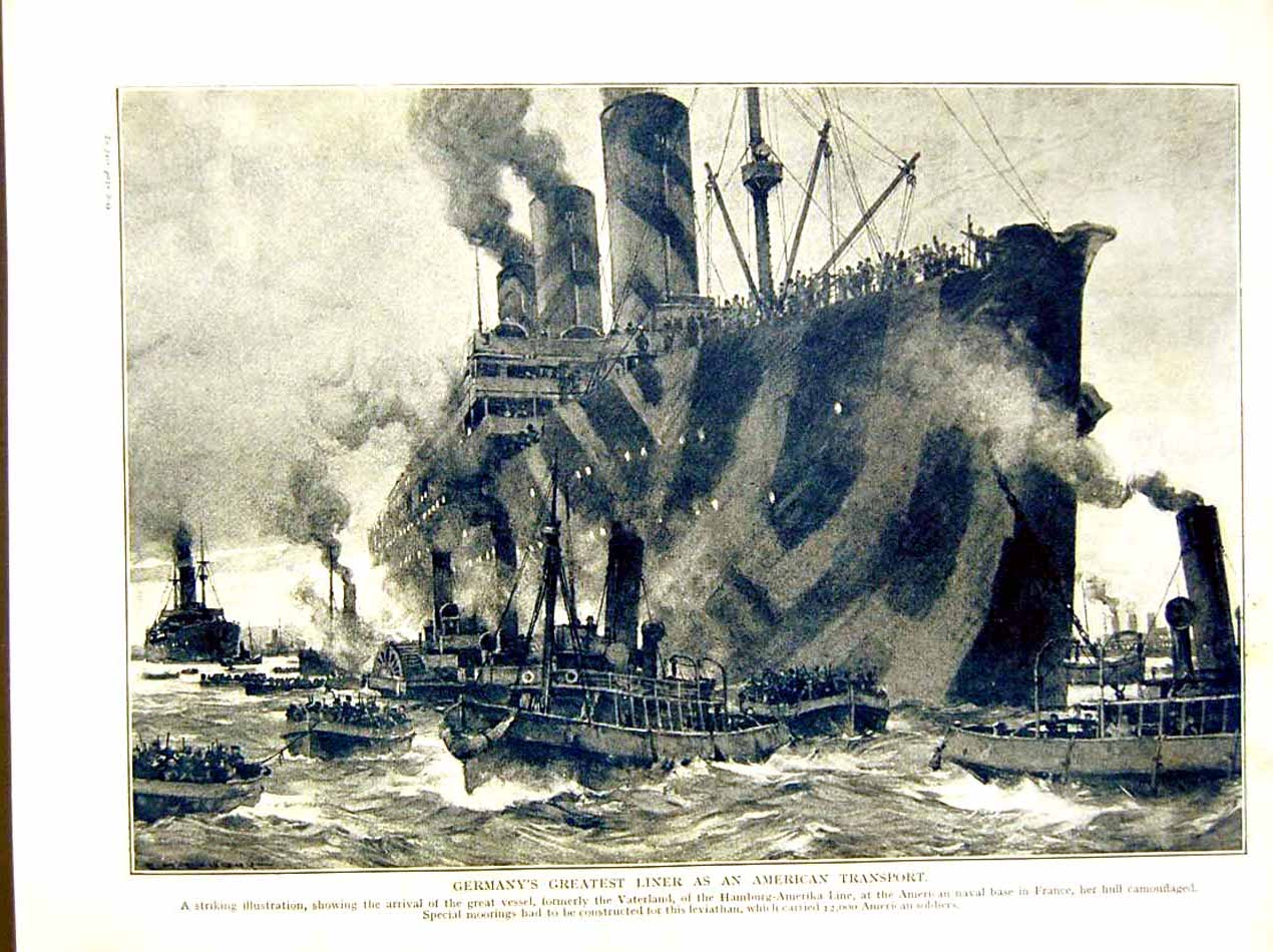 [Print *0610 World War 1917-18 Germany Liner Ship American Soldiers 252E290 Old Original]