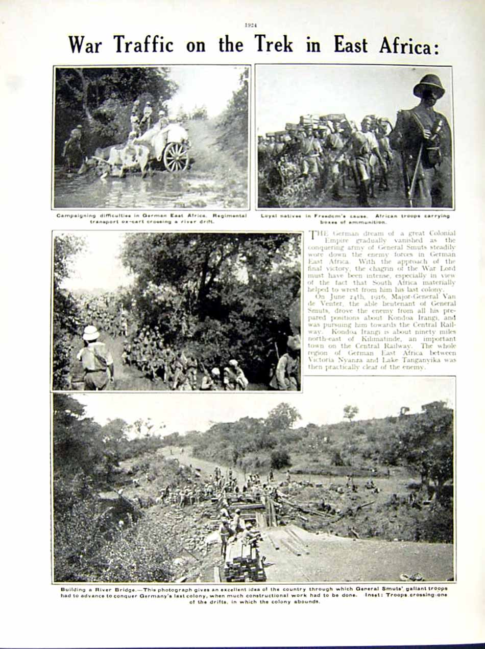 [Print 1916 World War British Naval Gun Africa Nyassaland 172Re291 Old Original]