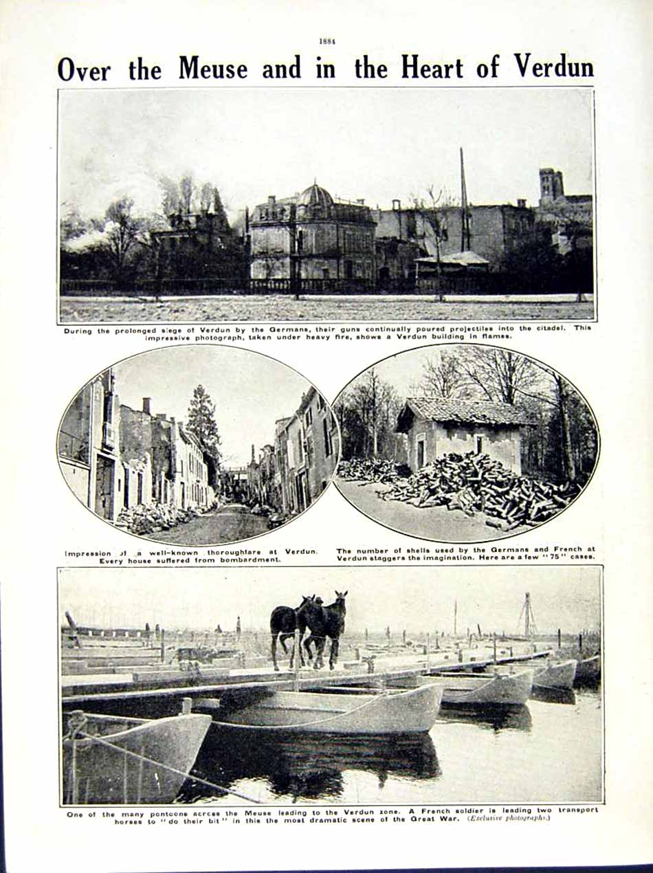 [Print 1916 World War Fort Douaumont French Battery Meuse 188Re291 Old Original]