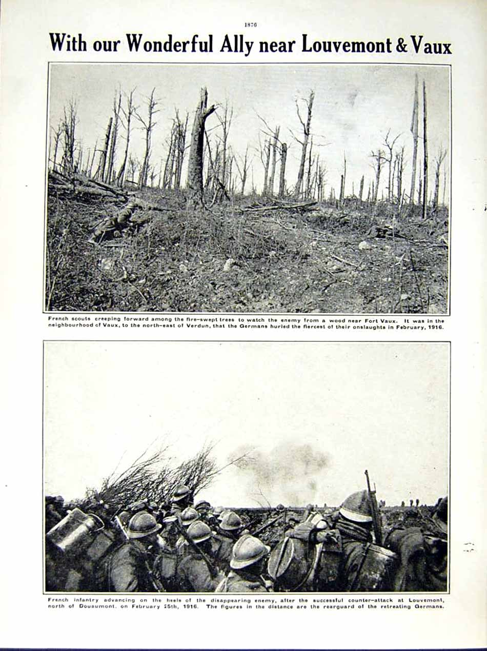[Print 1916 World War Fort Souville General Mangin French Army 190Re291 Old Original]