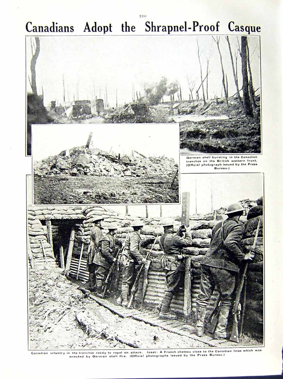[Print 1916 World War Canadian Soldiers French Chateau Shell 204Re291 Old Original]