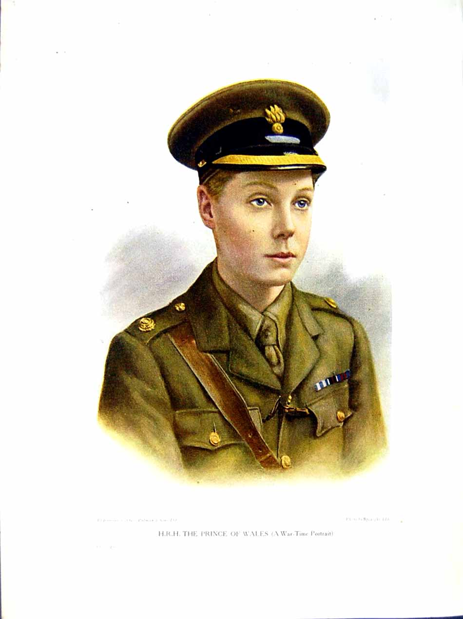 [Print 1916 World War Portrait H.R.H Prince Wales 255E291 Old Original]