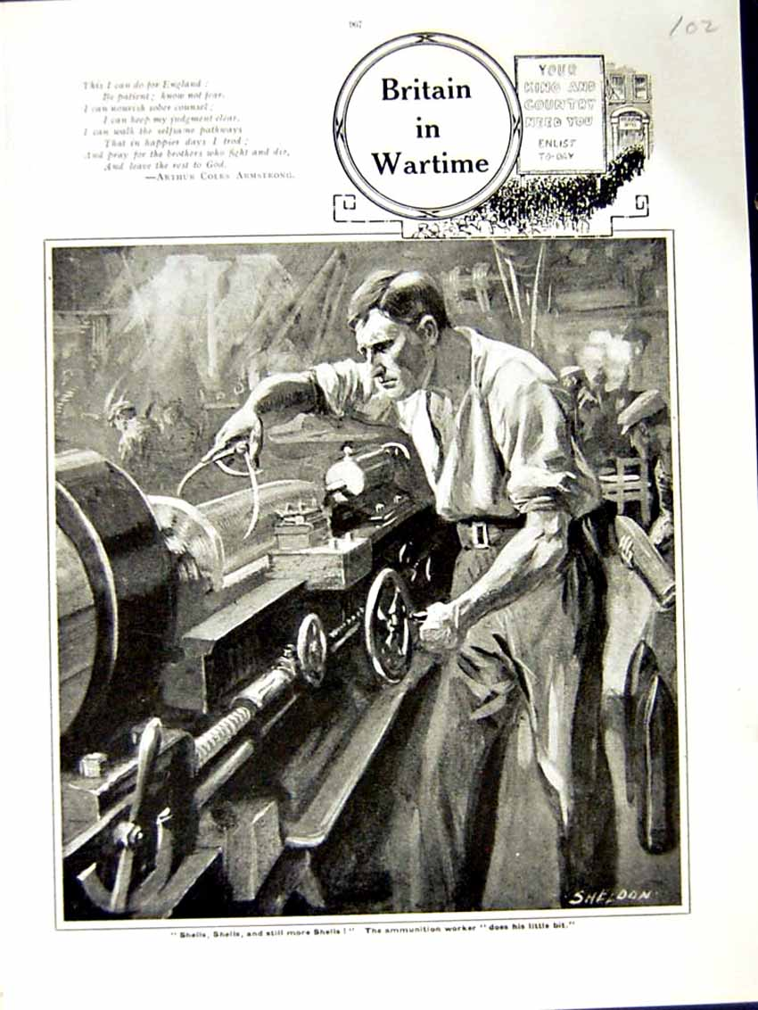 [Print 1915 World War Ammunition Worker Factory Shells Man 102E292 Old Original]