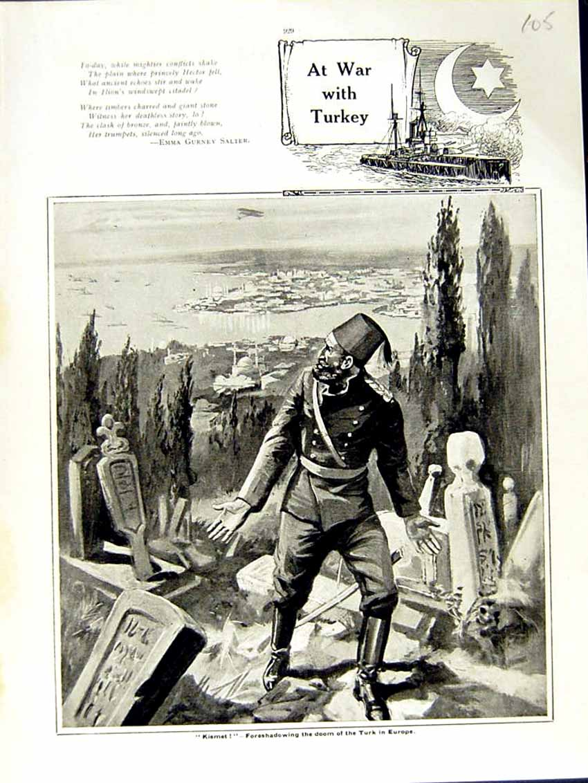 [Print 1915 World War Kismet Turk Soldiers Europe Graves 105E292 Old Original]