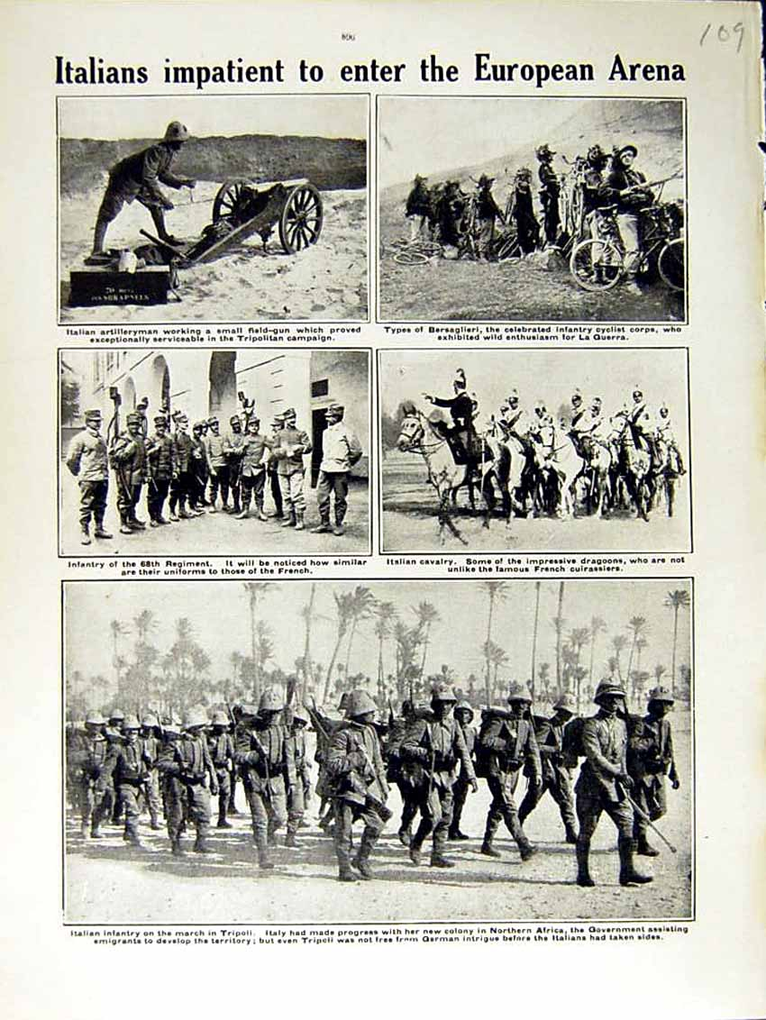 [Print 1915 World War Italian Artilleryman Tripoli Africa Army 109E292 Old Original]
