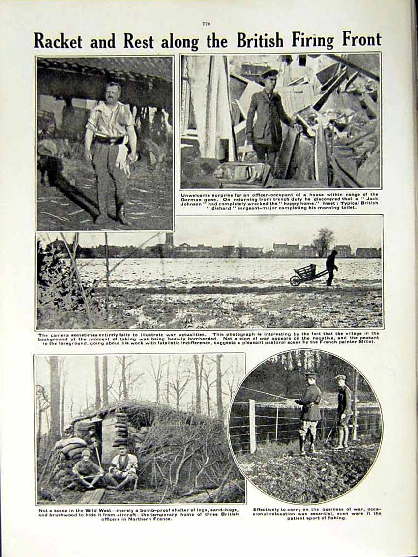 [Print 1915 World War British Soldiers Boots Bomb Shelter 139Re292 Old Original]