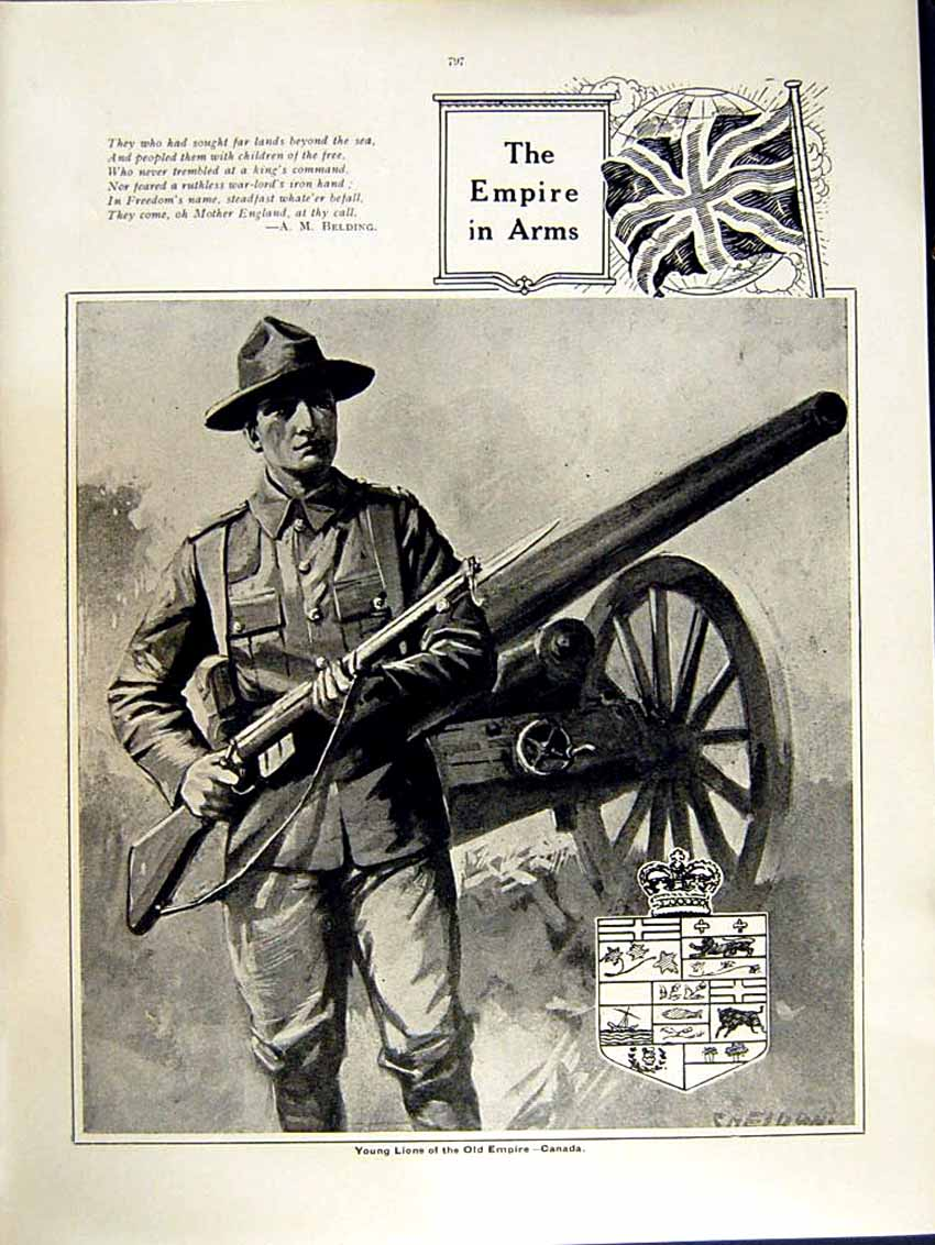 [Print 1915 World War Indian Soldier Horse Canadian Weapons 147Re292 Old Original]