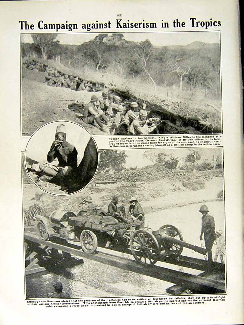 [Print 1915 World War British Gun Soldiers Africa Tsaro River 151Re292 Old Original]