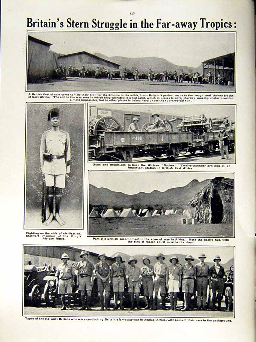 [Print 1915 World War Africa Cars British Soldiers Munitions 152Re292 Old Original]