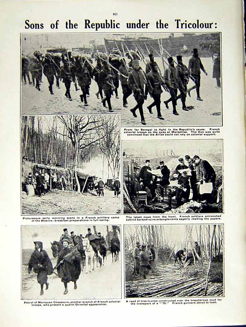 [Print 1915 World War French Sappers Train France Chasseurs 160Re292 Old Original]