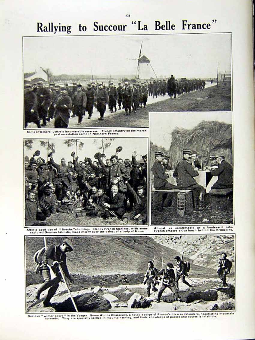 [Print 1915 World War French Soldiers Reserves Joffre Vosges 161Re292 Old Original]