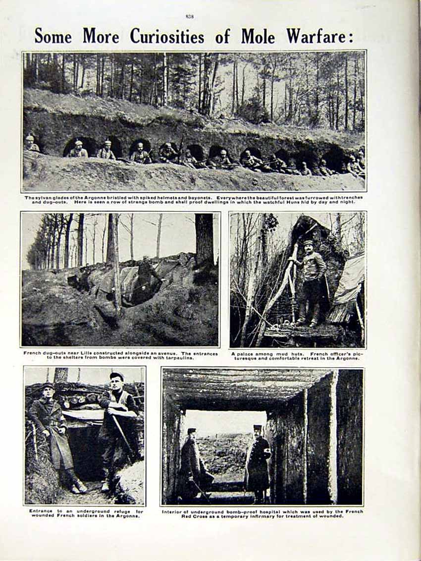 [Print 1915 World War Underground Trenches French Soldiers 163Re292 Old Original]
