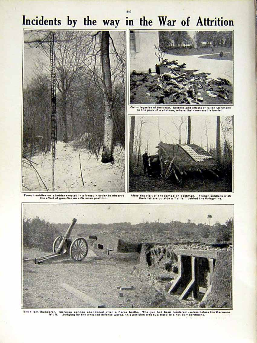 [Print 1915 World War French Soldiers France Flanders Cannon 164Re292 Old Original]