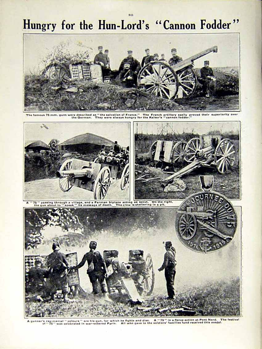 [Print 1915 World War French Soldiers Joffre Gunners Cannon 166Re292 Old Original]
