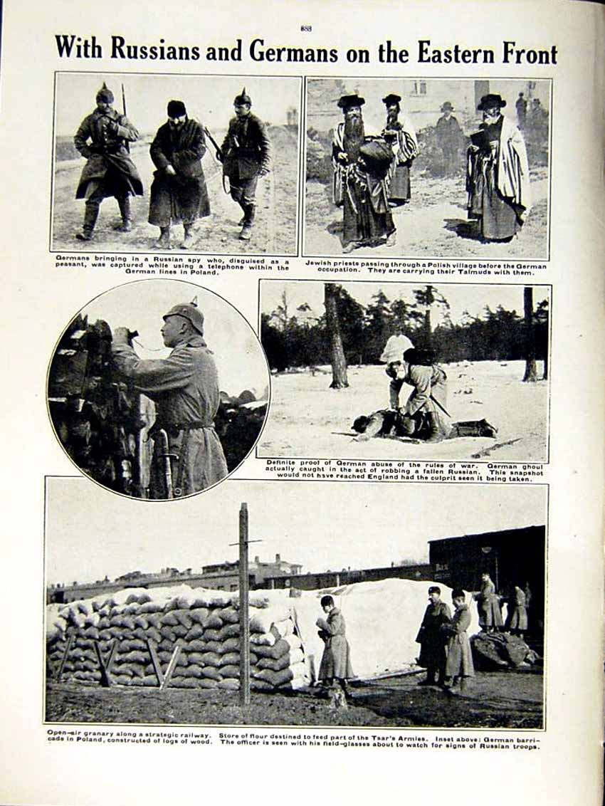 [Print 1915 World War German Red Cross Officers Russians Army 184Re292 Old Original]