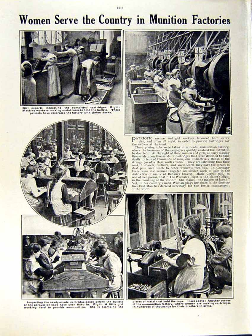 [Print 1915 World War Manon French Nurse Italy Factory Girls 235Re292 Old Original]