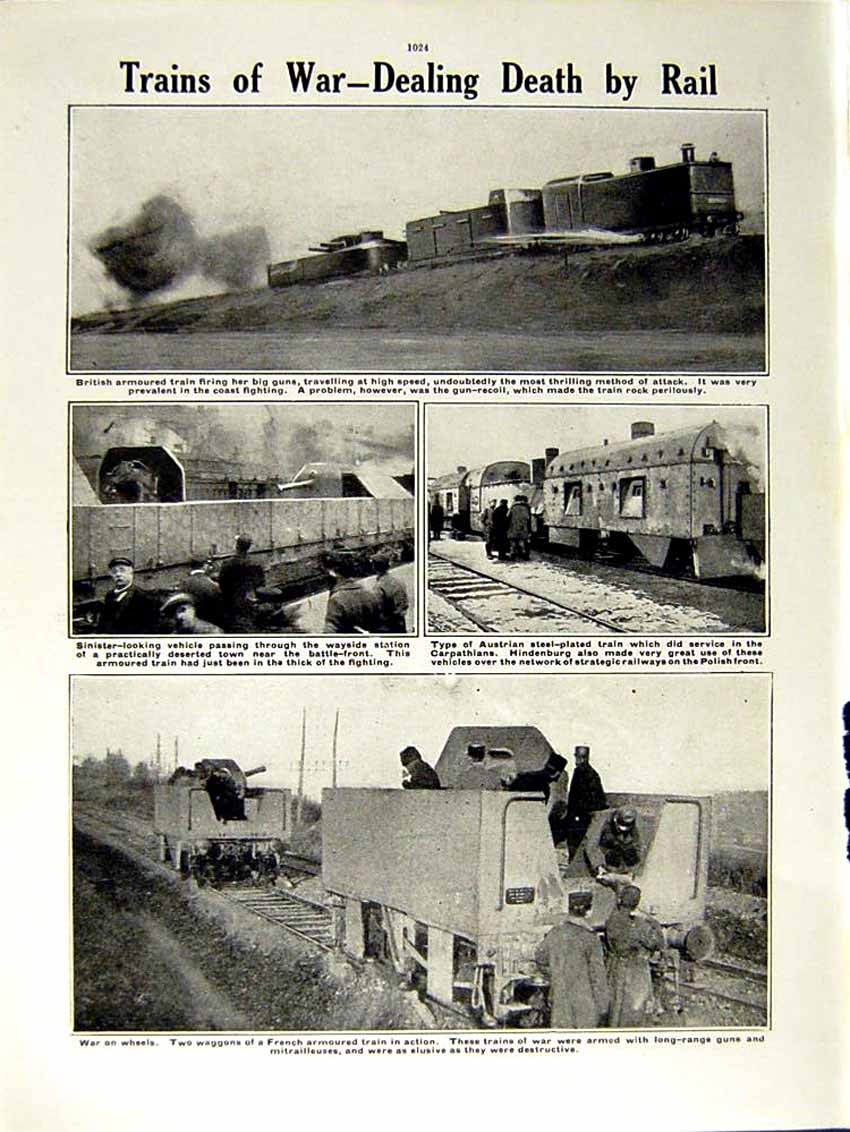 [Print 1915 World War Ancient Weapons Soldiers British Train 239Re292 Old Original]
