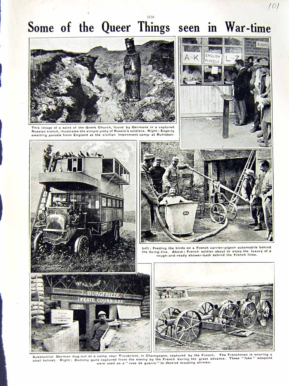 [Print 1915-16 World War German Dug-Out Troubricot Soldiers 101E293 Old Original]