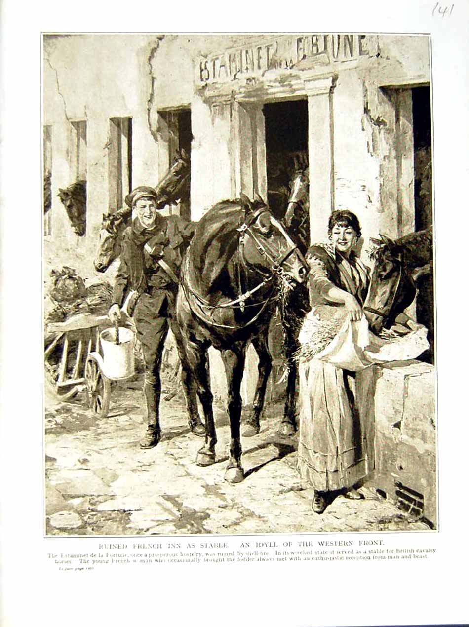 [Print 1915-16 World War French Inn Stable Horse Soldiers Lady 141E293 Old Original]