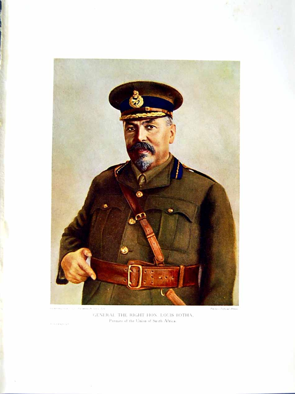 [Print 1915-16 Portrait General Louis Botha South Africa War 145E293 Old Original]