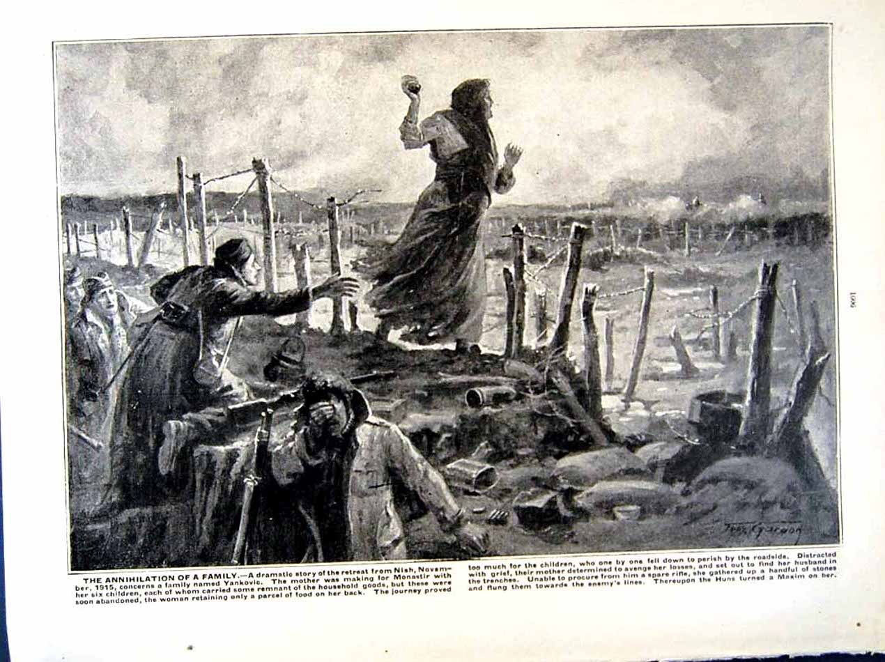 [Print 1915-16 World War Serbian Soldiers Nish Trench Refugees 217Re293 Old Original]