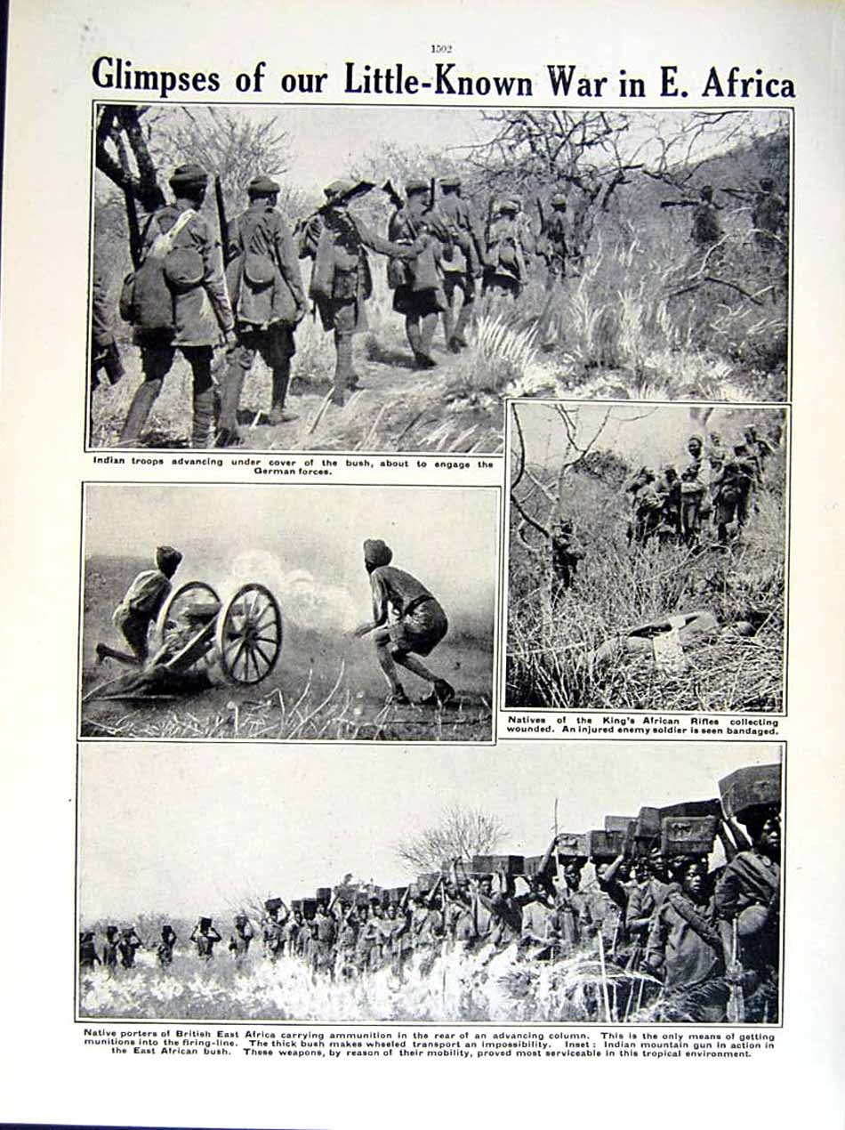 [Print 1915-16 World War African Natives Soldiers Africa Guns 252Re293 Old Original]