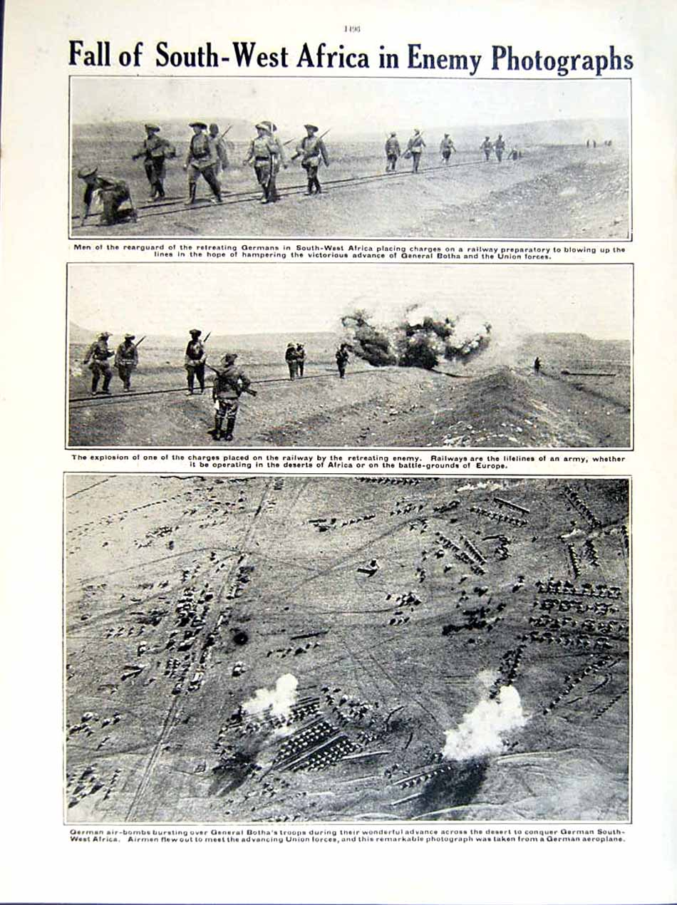 [Print 1915-16 World War British Soldiers Africa Botha Bombs 255Re293 Old Original]