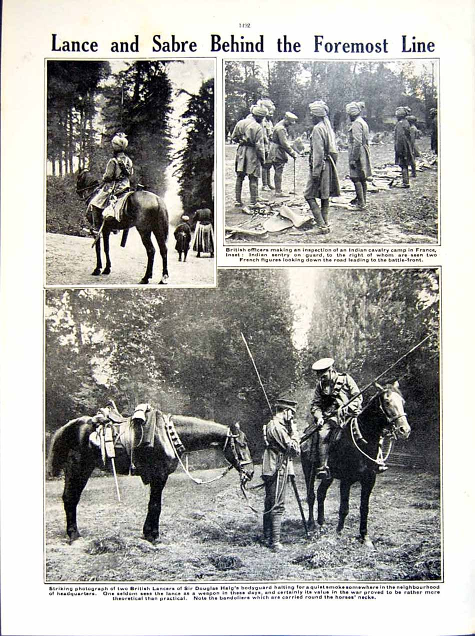 [Print 1915-16 World War British Soldiers Trench Haig France 257Re293 Old Original]