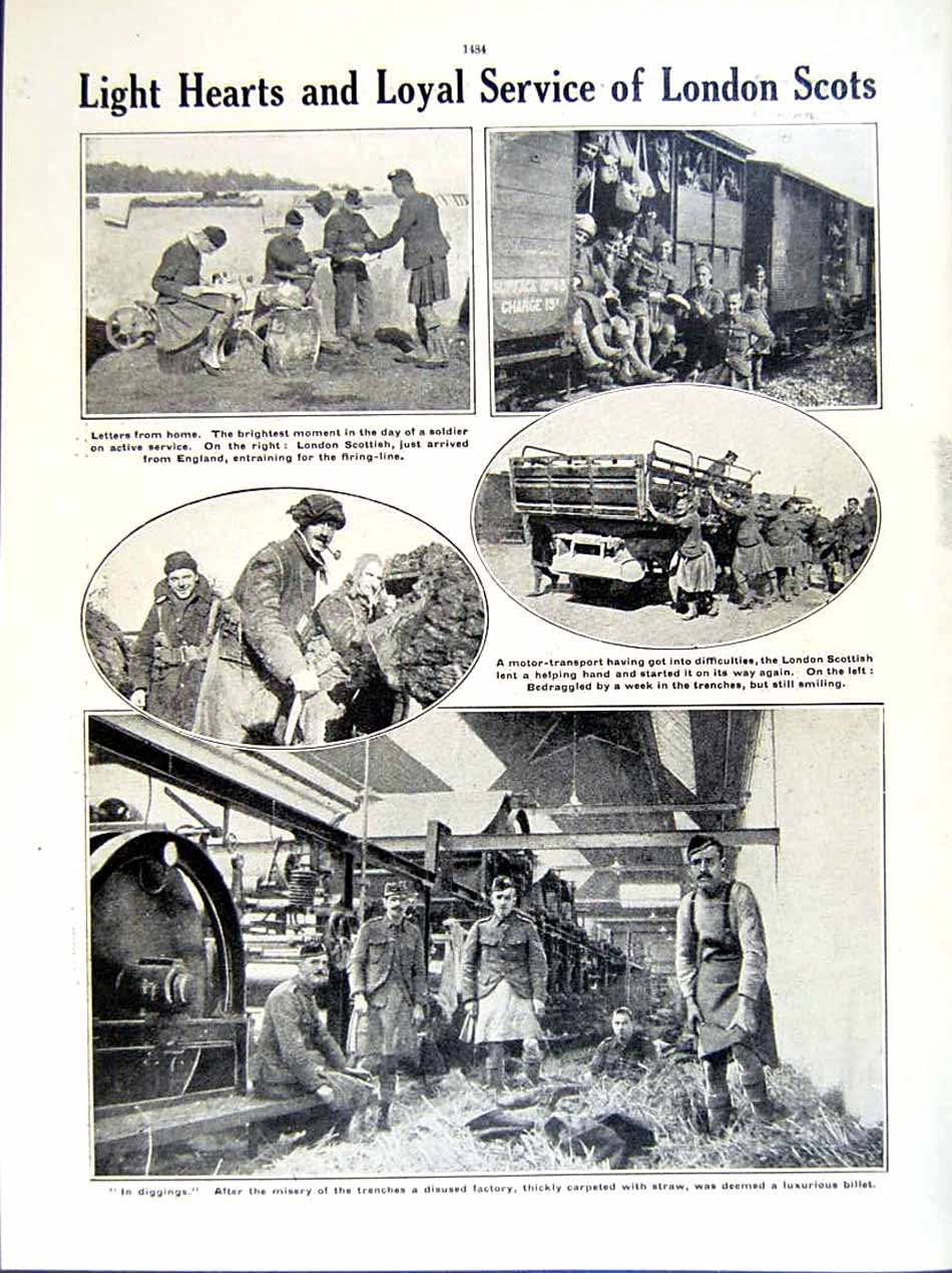 [Print 1915-16 World War British Soldiers Sappers London 259Re293 Old Original]