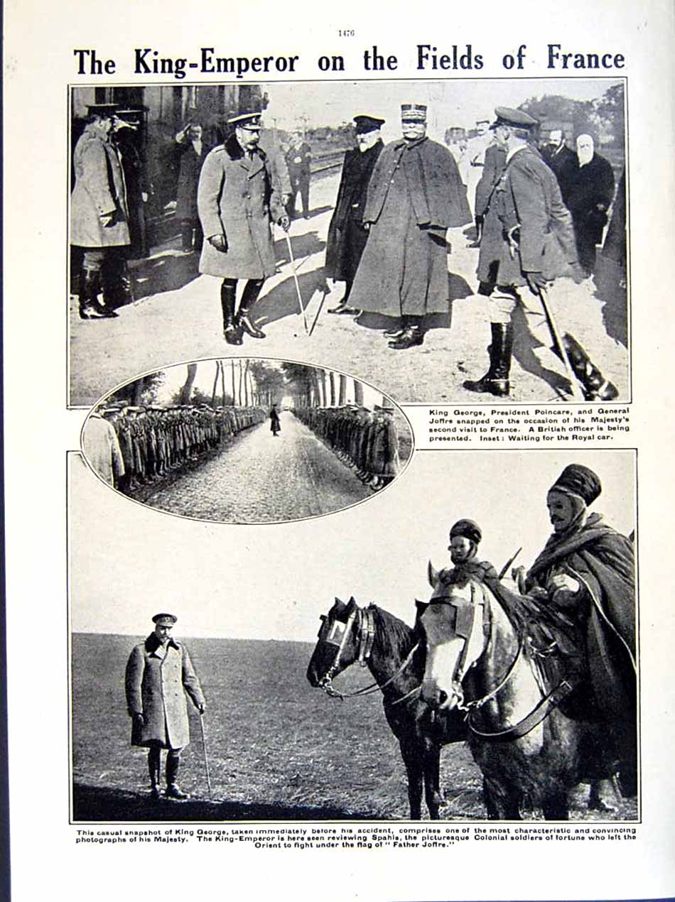 [Print 1915-16 World War British Soldiers Trench Canadian King 261Re293 Old Original]