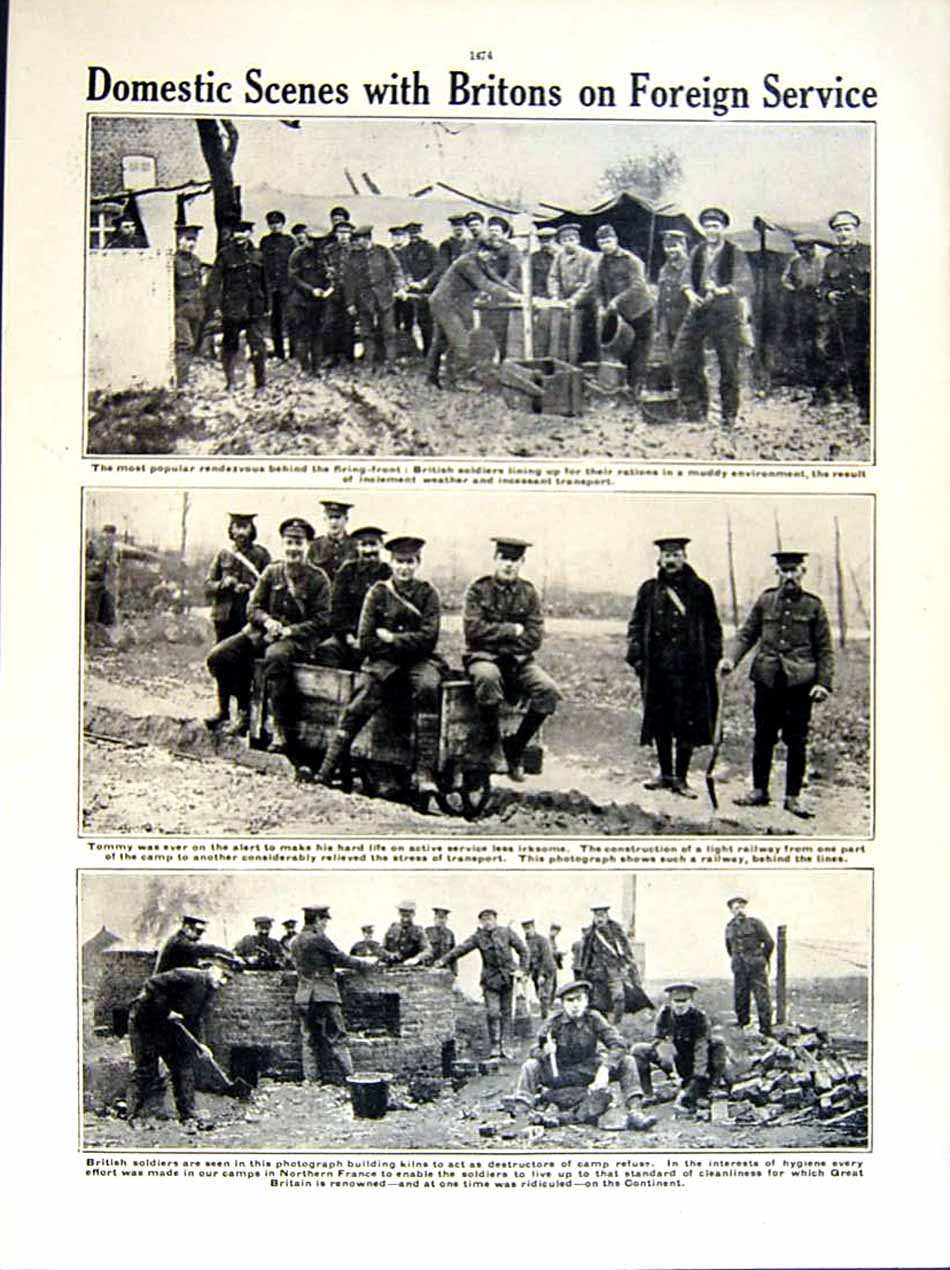 [Print 1915-16 World War Soldiers Christmas Dug-Out British 262Re293 Old Original]