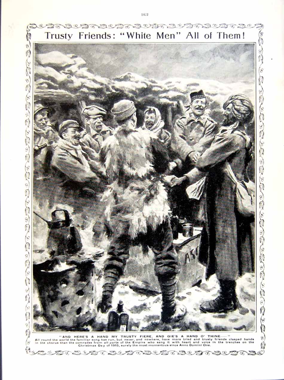 [Print 1915-16 World War British Soldiers Horses Christmas 263Re293 Old Original]