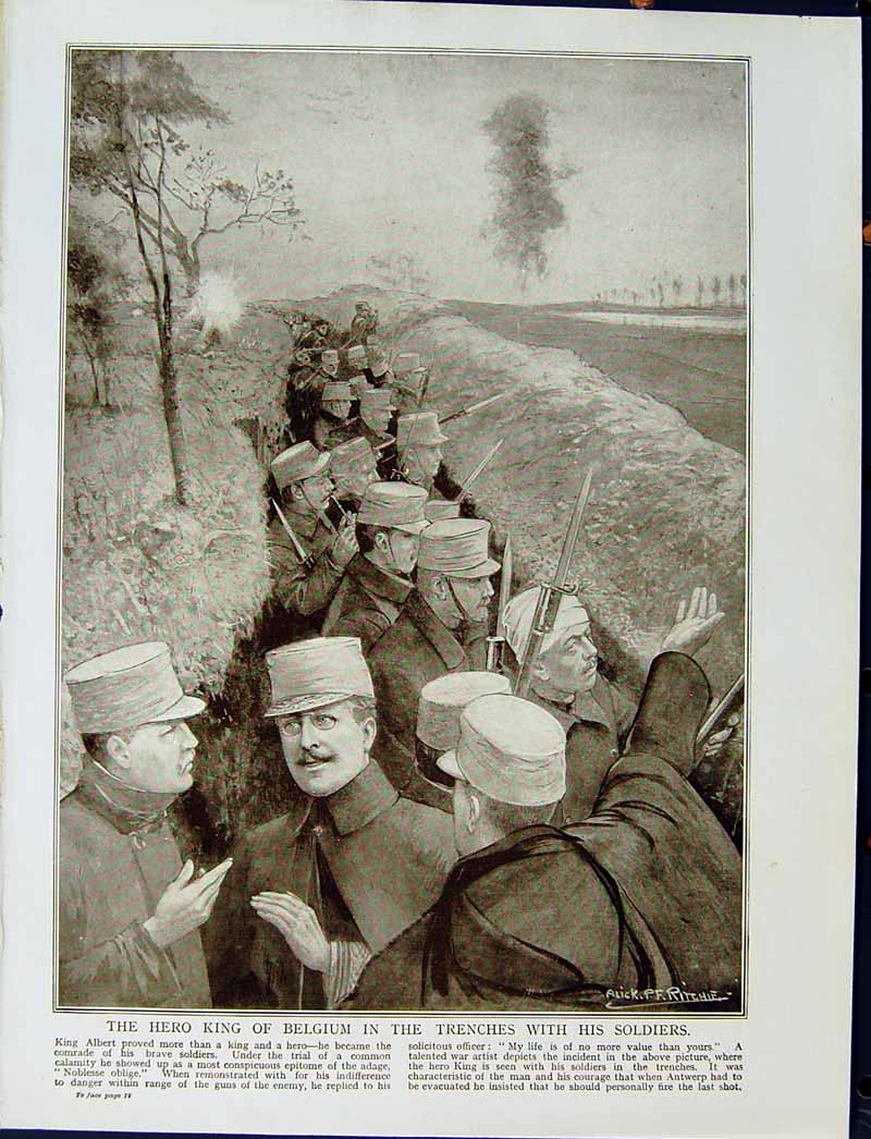 [Print 1915 World War Hero King Belgium Trenches Soldiers 106E294 Old Original]