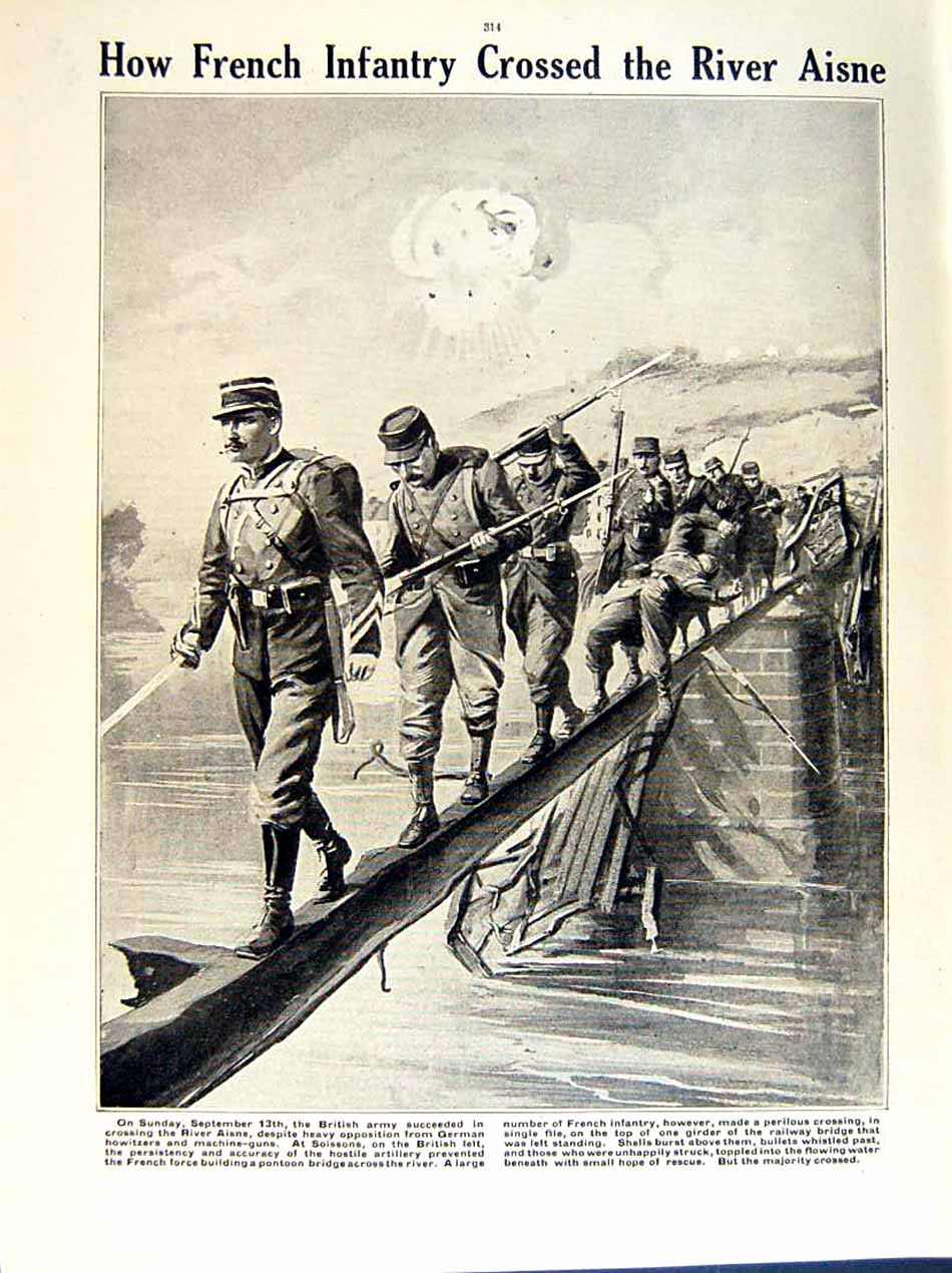 [Print 1915 World War Manchester Soldiers Marne French Aisne 171Re294 Old Original]