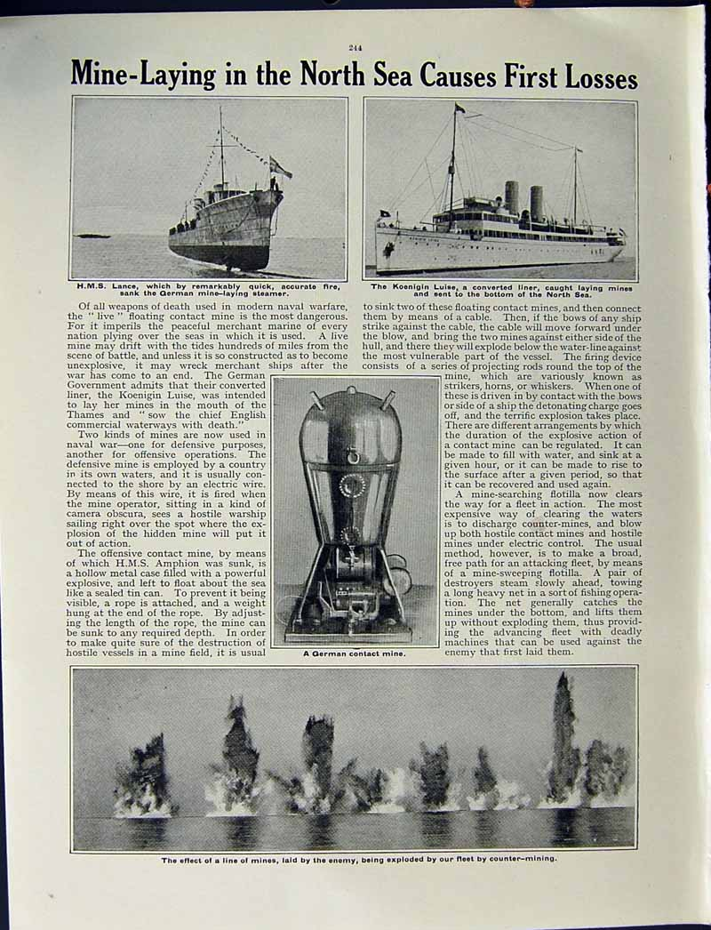 [Print 1915 World War German Ship Moltke Dreadnought Lance 200Re294 Old Original]