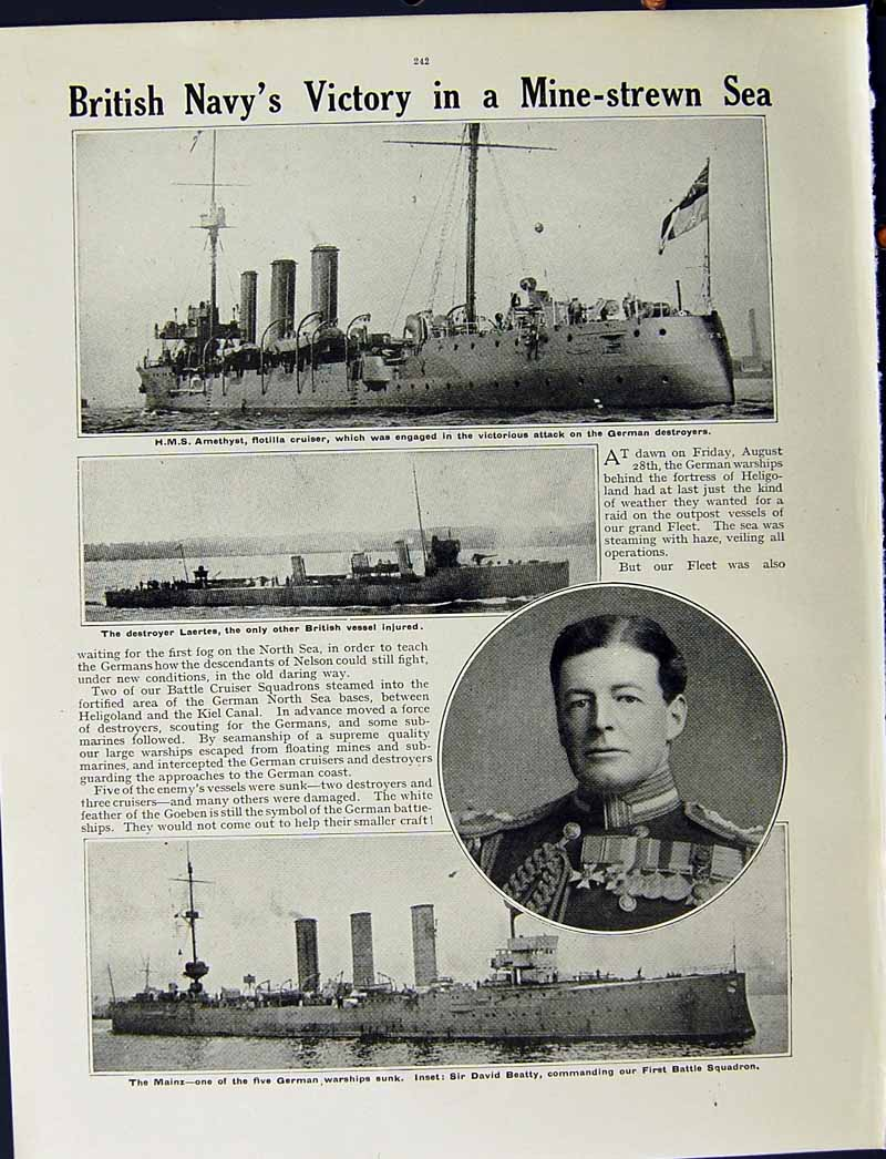 [Print 1915 War British Dreadnought King George V Amethyst 201Re294 Old Original]