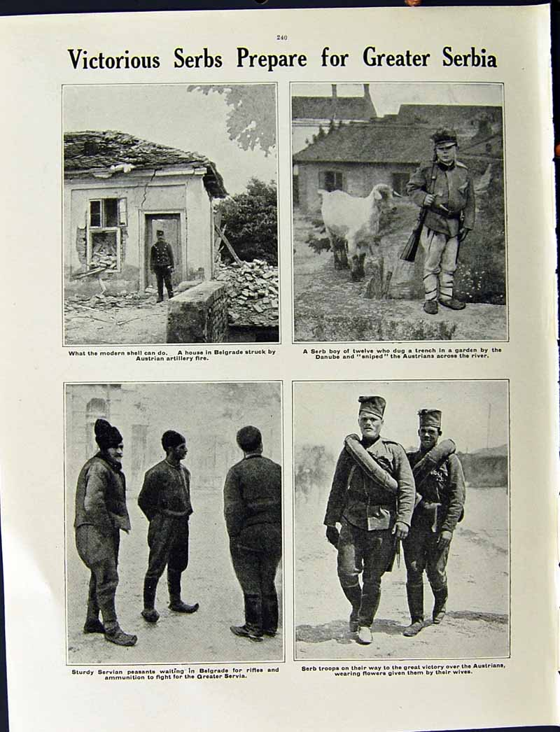 [Print 1915 World War Servian Soldiers Red Cross Nurse Serbs 202Re294 Old Original]