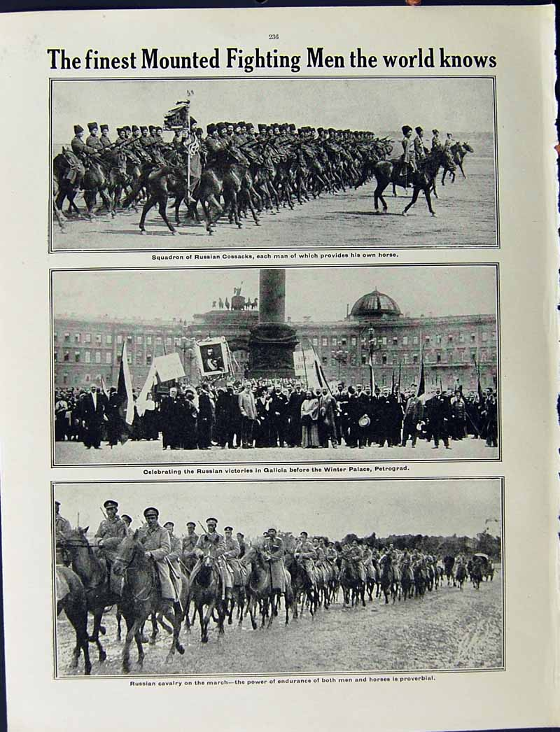 [Print 1915 War Russian Soldiers Lemberg Cossacks Petrograd 204Re294 Old Original]