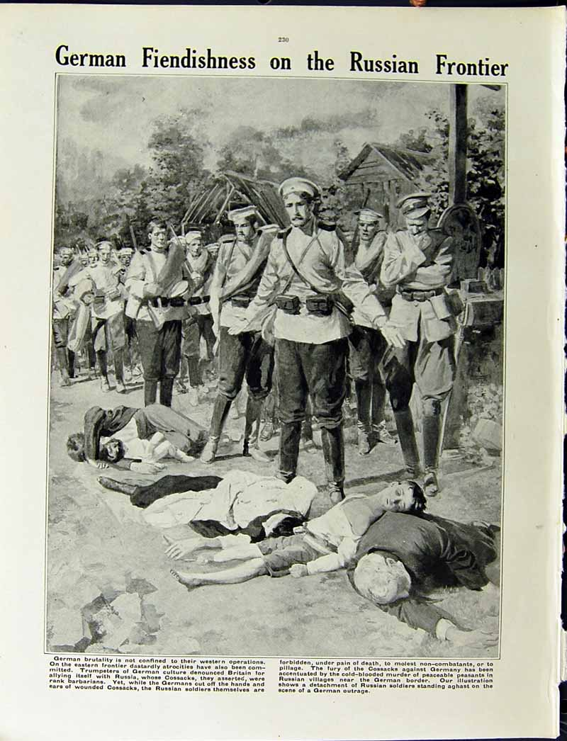[Print 1915 World War Russian Soldiers Mikolaiev German Dead 205Re294 Old Original]