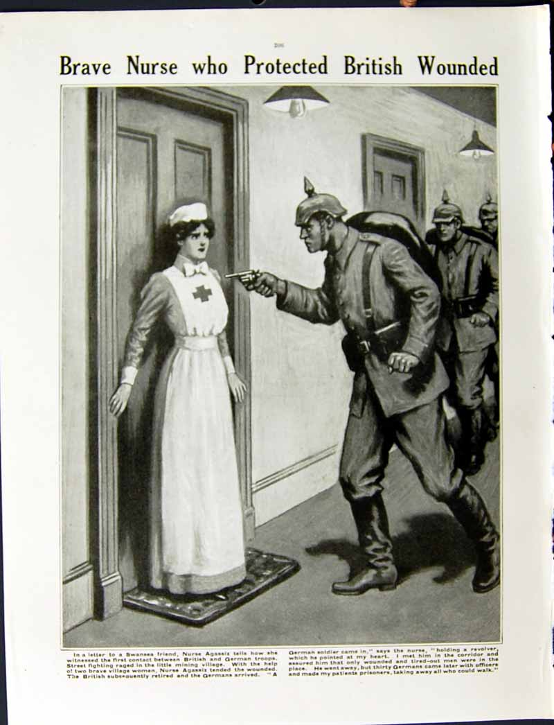 [Print 1915 World War Rheims Cathedral Belgium Nurse Agassiz 211Re294 Old Original]