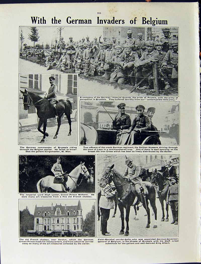 [Print 1915 War German Soldiers French Chateaux Art Belgium 214Re294 Old Original]