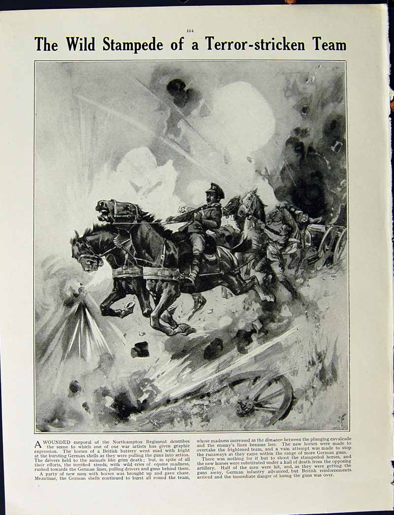 [Print 1915 World War French Village Soldiers Northampton Army 227Re294 Old Original]