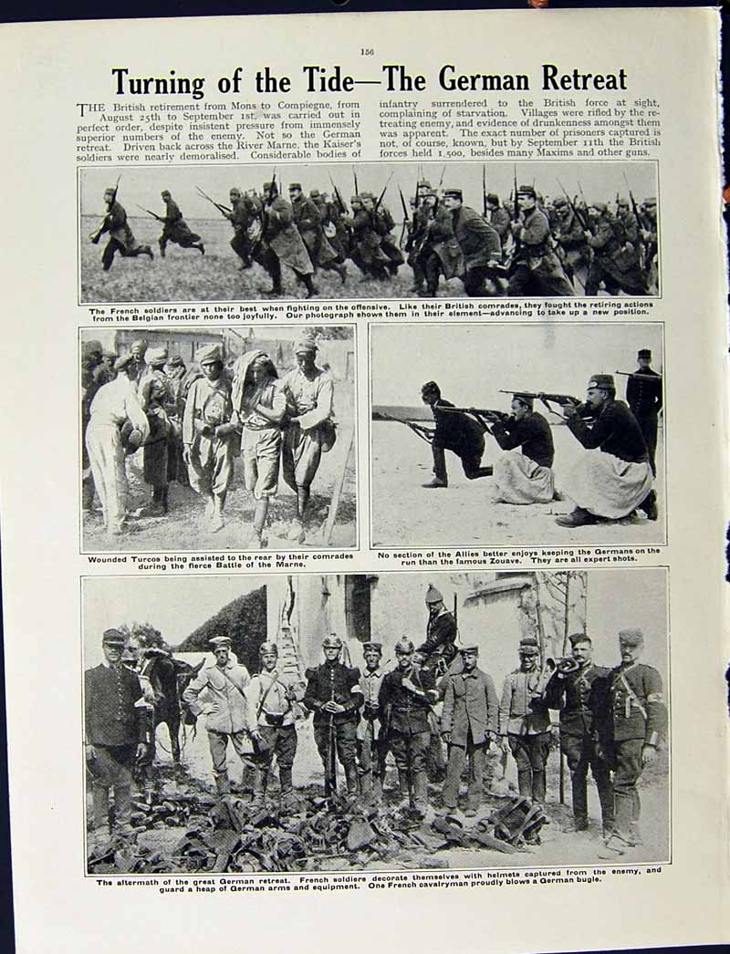 [Print 1915 World War Iris Guards German Soldiers French Marne 229Re294 Old Original]
