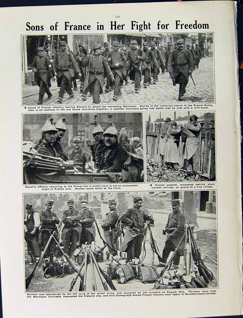 [Print 1915 World War French Soldiers Uhlans Amiens Germans 246Re294 Old Original]