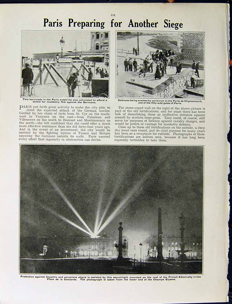 [Print 1915 War French Soldiers Charleroi Paris Champs Elysees 249Re294 Old Original]