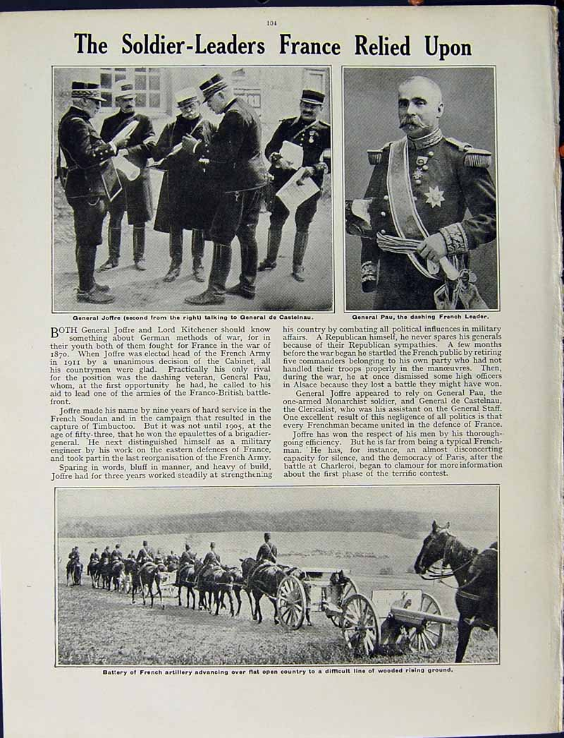 [Print 1915 World War French Soldiers Joffre General Pau Horse 250Re294 Old Original]