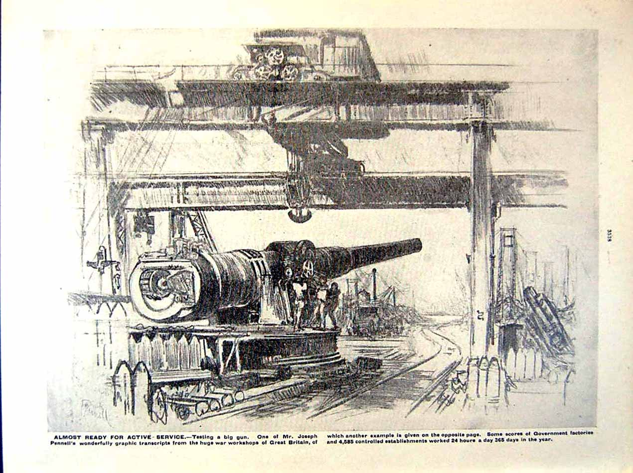 [Print 1919 World War Women Foresters Railway Pennell Gun 150Re295 Old Original]