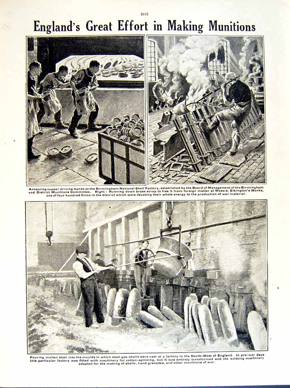 [Print 1919 World War Manchester Soldiers Birkenhead Factory 153Re295 Old Original]