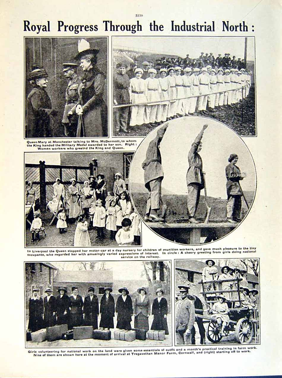 [Print 1919 World War Widow Jacobs Connaught Queen Mary Girls 154Re295 Old Original]