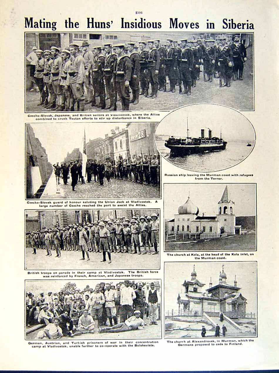 [Print 1919 World War Esthonian Cadets British Marines Turkish 166Re295 Old Original]